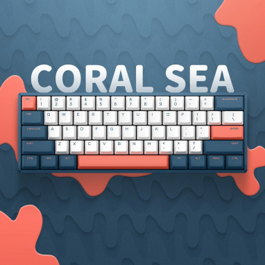 IQUNIX F60-2020 60% Hot-swappable Mechanical Keyboard - Coral Sea