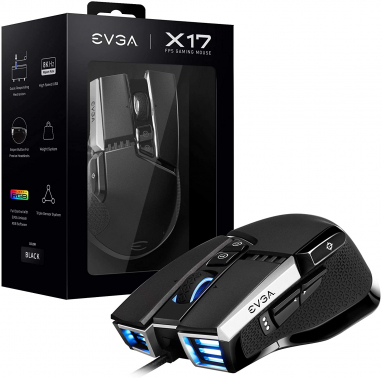 EVGA X17 Gaming Mouse, Wired, Black, Customizable, 16,000 DPI, 5 Profiles, 10 Buttons